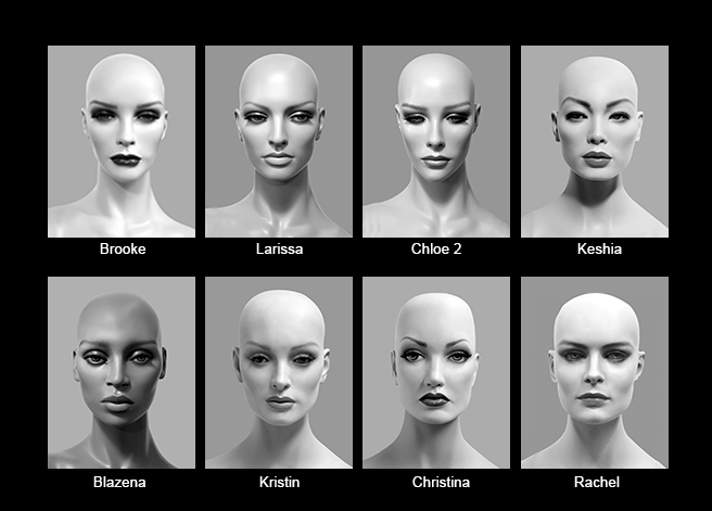Mannequin Content_Female Heads_Realistic_01